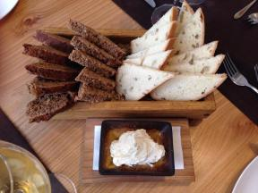 artisan bread and black bread with whipped butter valteras