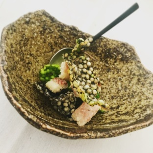 Tapioca, squid ink & plankton cracker with smoked eel and pickled lemon