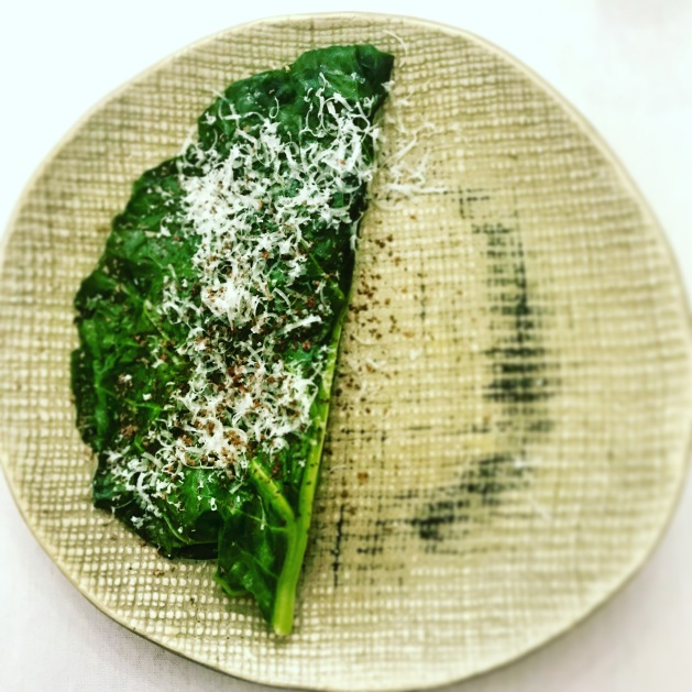 Pigeon ragout folded inside blanched chard